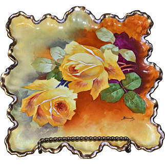Limoges Uniquely Shaped Square Plate/Tray Yellow Roses Signed Master Artist A. Bronssillon