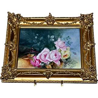 Spectacular Limoges Signed Porcelain Framed Plaque/Wall Art with Exquisite Hand Painted Roses