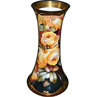 Limoges Huge Vase with Vibrant Colors and Yellow Roses Signed Listed Master Pickard Artist M. Rost LeRoy