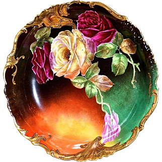 Limoges Stunning Bowl With Vibrant Colors Covered in Red and Yellow Roses Signed Master Artist Rousset