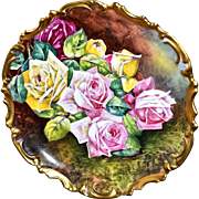 Limoges Magnificent Museum Quality Charger/Wall Plaque Pink, Yellow and Red Roses