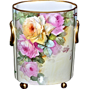 Limoges Large Superb Signed Cache Pot/Vase with Pink and Yellow Roses