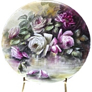 "Limoges Magnificent Hand Painted 16"" Plaque/Charger/Tray with Pink/Red/White Roses in Reflecting Waters"