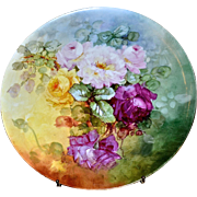 "Limoges Magnificent Gigantic Signed 18"" Wall Plaque/Charger/Tray with Red, Pink and Yellow Roses and Vibrant Colors"