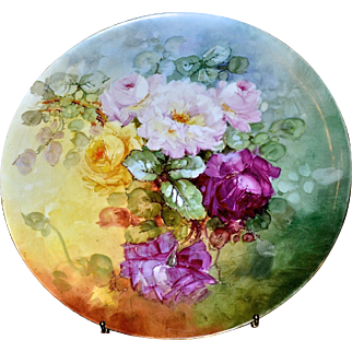 """Limoges Magnificent Gigantic Signed 18"""" Wall Plaque/Charger/Tray with Red, Pink and Yellow Roses and Vibrant Colors"""