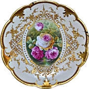Limoges Gold Drenched Plate with Pink and White Reflecting Waters Roses Signed Master French Artist Carville - Red Tag Sale Item