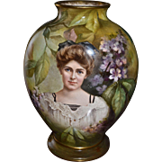 Royal Bonn Magnificent Portrait Vase Maiden Among Flowers and Autumn Leaves