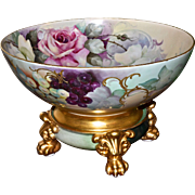 Limoges Breathtaking Punch Bowl Covered in Roses and Grapes with Gold Raised Embellishments