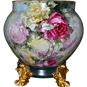 Limoges Amazing Signed Rose Filled Jardiniere/Planter/Vase with Matching Gold Pawed Plinth/Base