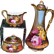 Limoges Stunning Chocolate Set: Chocolate Pot and Creamer/Sugar with Roses and Bumble Bees Signed A. Rico