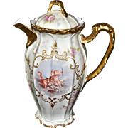 Limoges Gold Decorated Chocolate Pot with Roses and Putti at Play