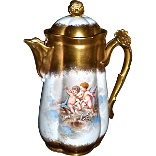 Limoges Chocolate Pot with Heavy Gold and Cherubs/Putti Playing Among the Clouds