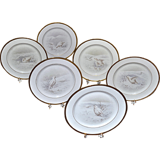 Lenox Set of 6 Hand Painted Bird Plates Signed by Listed and Master Artist W.H. Morley