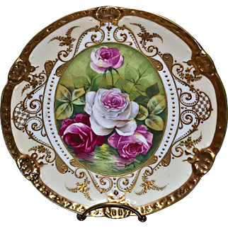 Limoges Rose Reflecting Water Plate Decorated with Heavy Gold Intricate Paste Work Signed Talented Artist Baumy