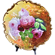 """Limoges 13.25"""" Charger Covered with Pink and Red Roses Signed Marty"""