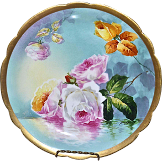 Limoges Charger Famous Reflecting Roses/Waters Hand Painted Floral Scene Signed Famous Master Artist Duval