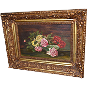Franz Bischoff Ornately Framed Oil on Board Painting Roses in Bowl