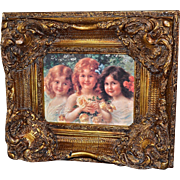 Limoges Gorgeous and Ornately Framed Hand Painted Porcelain Plaque Three Girls with Yellow Roses