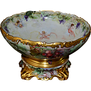 Limoges Huge Rare Signed Punch Bowl with Grapes, Cherubs/Putti & Matching Decorated Plinth/Base