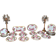 Limoges Striking 32-Piece Dessert Set Filled with Enormous Pink Roses and Trimmed with Heavy Gold