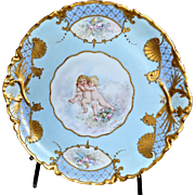 Limoges Superb Hand Painted and Signed Charger with Roses and Putti Embellished with Incredible Gold Paste Decor
