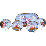 Limoges Signed Ice Cream/Dessert Set Covered in Scattered Red, Pink and Yellow Roses and Rimmed in Gold