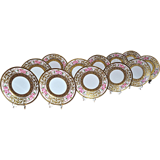 Limoges for Richard Briggs & Co. Boston Set of 12 Rose and Gold Encrusted Dessert Plates