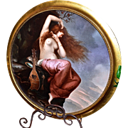 Limoges Magnificent Huge Semi Nude Portrait Red Haired Maiden on Cliff with Lyre