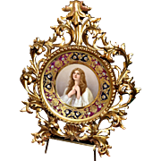 Superb Royal Vienna Hand Painted Charger Signed Wagner and Entitled Supplication Encased in Elaborate Giltwood Frame