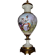 Limoges Massive Lidded Portrait Urn/Vase with Gold Detailing Museum Quality Signed French Artist Gayou