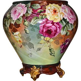 Limoges Gigantic Jardiniere Covered with Romantic Yellow, Red and Pink Roses and Matching Plinth/Base