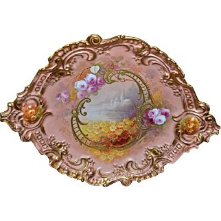 Limoges Large Charger/Wall Plaque with Castle Scene and Roses/Floral Decor Decorated with heavy Gold Elaborate Accents Signed Master Artist Bronssillon