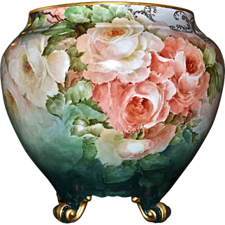 Limoges Huge Footed Jardiniere Covered in Exquisite Apricot and White Roses with Heavy Gold Detailing