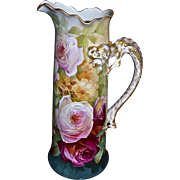 Limoges Magnificent Signed Dragon Handled Tankard with Exquisite Roses and Stunning Colors