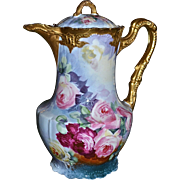 Limoges Stunning Victorian Chocolate Pot with Pink, Red, Yellow Roses Against Sky Blue Background with Heavy Gold Embellishments Signed Listed Artist J. Marsal
