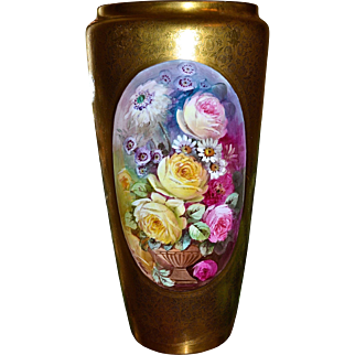 Pickard Rare Marked Hand Painted Vase Rose Medallion Against Morning Glory Etched Gold Signed Master Artist Edward Challinor
