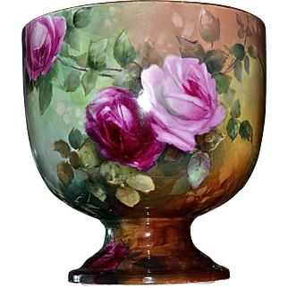 Limoges Unique Signed Footed Jardiniere/Huge Centerpiece with Intense Colors and Covered in Exquisite Pink, Yellow and Red Roses