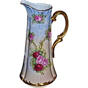 Limoges Huge Tankard with Pink and Red Roses and Heavy Gold Flourishes and Arched Handle Signed by Listed Artist Rozy