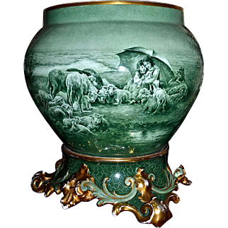 Limoges Gorgeous Jardiniere with Unique Monochrome Scene of Children Under Umbrella Watching Sheep in a  Pastoral Setting together with  Ornate Matching Plinth Signed Master French Artist Marcedet