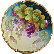 Limoges Hand Painted Plate With Golden Yellow and Purple Grapes Signed Master French Artist Segur
