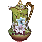 Limoges Stunning Chocolate Pot with Pink, White, Cranberry and Blue Clematis on a Chartreuse Background with Gold Embellishments