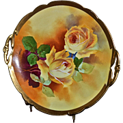 Limoges Open Handled Cake Plate Yellow Roses Signed Master Artist A. Bronssillon