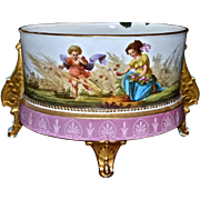 French Portrait and Scenic Jardiniere Gold Ornate Feet and Winged Accents Together With Raised Beaded Work and Marvelous Detailing
