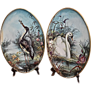 "Limoges Fabulous Signed Pair of Porcelain 14"" Plaques Depicting Swan and Great Blue Heron in Vibrant Exotic Marsh Like Setting"