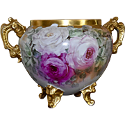 Limoges Huge Amazing Jardiniere Enormous Pink, Red, White and Apricot Roses with Gold Encrusted Ornate Handles, Feet and Rim