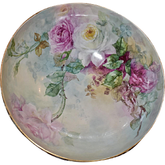 Limoges Exquisite Footed Punch Bowl Covered with Finely Executed Pink, White and Red Roses and Wonderful Sky Blue Raised Molded Detailing