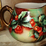 Limoges Guerin Cider Pitcher with Lovely Red Cherries