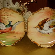 Fabulous Pair of Limoges Game Plaques Sign by Master Artist Broussillon
