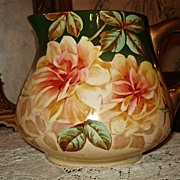 Limoges Signed Cider Pitcher with Dramatic Yellow Roses