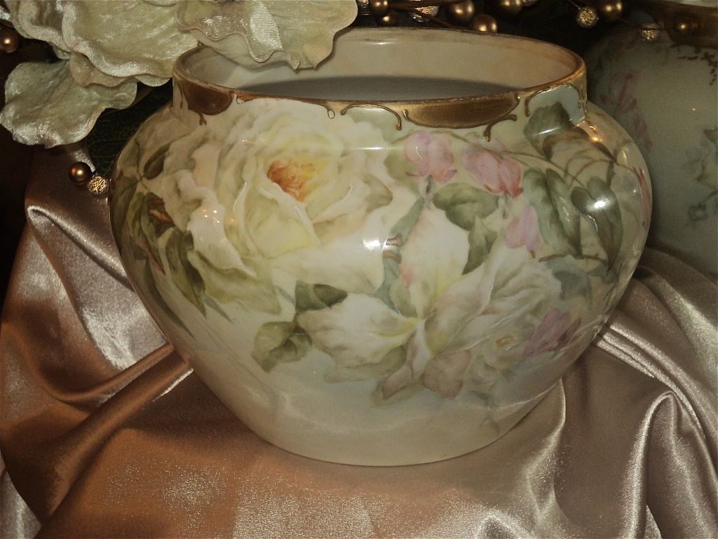 Gorgeous Limoges Jardiniere with White Roses and Pink Sweat Peas